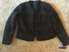 NWT Apt. 9 Wine & Navy Fully Lined Plaid Career Blazer Jacket Large L Retail $48