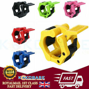 """Pair Olympic 2"""" Spinlock Collars Barbell Dumbell Clips Clamp Weight Bar Lock UK"""