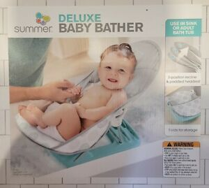 Summer Infant Deluxe Baby Bather Dashed Dots Gray/Aqua