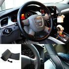 New Leather DIY Car Steering Wheel Cover With Needle and Thread Black