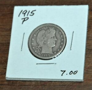 1915 P Liberty Head Barber quarter Ungraded - nice starter set coin SILVER