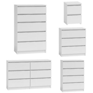 MODERN - White Chest Of Drawers Bedroom Furniture Storage Bedside 2 to 8 Draws