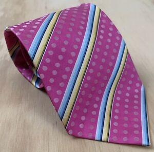 "etro milano striped dot silk pink blue yellow neck tie 57"" x 3.75"""