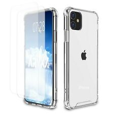 Clear Case w/ 2x Screen Protector for iPhone 11 XR 7 8 Plus X XS Max Cover 6s 5