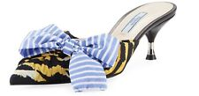 PRADA TIGER PRINT SLIDES MULES WITH BOW IN BLUE NEW SHOES KITTEN HEEL 39 / 9