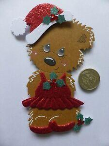 4 Large Sweet Little Miss Christmas Bear 3D Handmade Card Toppers Daughter Mum