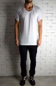 Roll Shoulder White Short Sleeve T-Shirt - M - ALEX CHRISTOPHER RRP £50