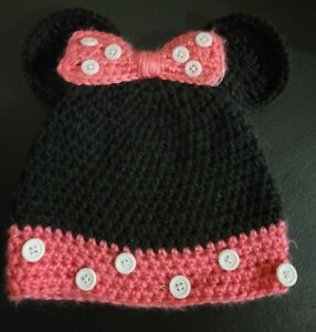 Handcrafted Minnie Mouse Beanie Hat Toddler Knit Crochet Winter