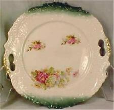 Antique Cake Cookie Plate Garden Flowers Green Pink Whiteware Porcelain Serving