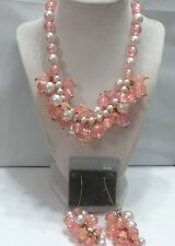 VTG Pale Pink White Faux Pearl Cluster Demi Necklace & Duster Earrings AB Coated