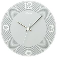 NEU AMS Wanduhr Ø 30 cm modern Mineralglas hellgrau geräuscharm Büro Praxis