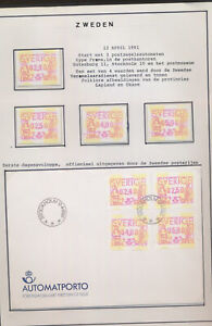 XC67403 Sweden 1991 ATM stamps FDC used