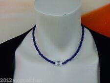 Blauer Lapis Lazuli(4mm)Halskette- 44cm - Bergkristall Element -70 Karat -Magnet