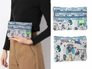 LeSportsac SESAME STREET 3 Zipper Makeup Travel Pouch Cosmetic Bag Purse Japan