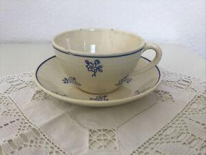 Gien France Tasse und Untertasse blaue Blumen, Antik