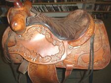 """Pre-Owned Hereford Tex Tan of Yoakum Tooled 16"""" Western Saddle   FREE SHIPPING"""