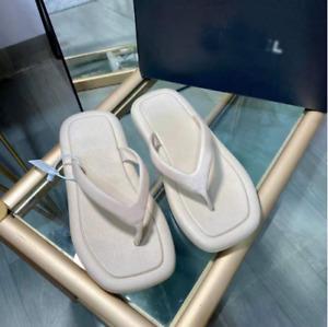 Women's Square Head Flip-Flops Slippers Sandals Beach Shoes Blue Vintage Mules