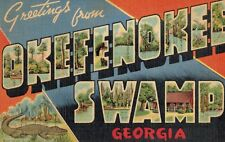Large Letter Postcard,Greetings from Okeefenokee Swamp,Georgia,c.1940s
