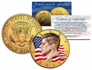 Colorized FLOWING FLAG 2018 JFK Kennedy Half Dollar Coin 24K GOLD Plated D Mint
