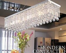Genuine Crystal&Glass Rectangular 5 Lights Ceiling Lamp Pendant Chandelier Light