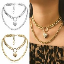 PUNK Womens Chunky Necklace Heart Pendant Crude Multi-layer Chain Jewellery Gift