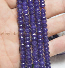 "Natural 4x6mm AAA Faceted Purple Amethys Abacus Rondelle Loose Beads 15"" Strand"