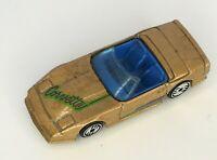 Hot Wheels Corvette Convertible Gold Toy Car Blue Interior 1988 Diecast Metal