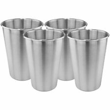 Metal Pint Glasses Stainless Cup Drinking Vessel Party Beer Pong 500ml 4 Pack