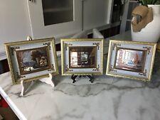 Foil Art Dufex Beautiful -Vintage foil art, framed in Shadow Box Set of 3 RARE!