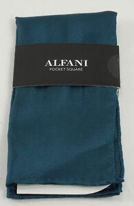 New 35$ Alfani Men's Blue Solid Blue 100% Silk Twill Pocket Square One Size