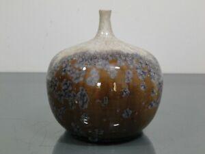 Vase,Ilse Ludwig - Korbel,Tittmoning,Keramik,Enghalsvase,kristallisierend,um1977