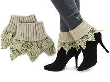 New Beige Women Crochet Knit Boot Socks Toppers Leg Warmers Cuffs