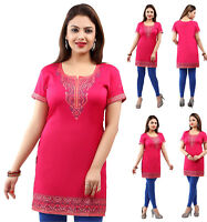 UK STOCK- Pink Women Casual Indian Short Kurti Tunic Kurta Top Shirt Dress 173B