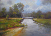 """L1029 Oil painting Canvas Board Signed Soviet Russian Landscape Small 9""""x13"""""""