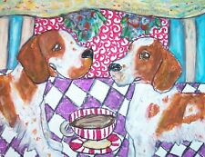 Welsh Springer Spaniel Drinking Coffee Dog Collectible 8 x 10 Signed Art Print