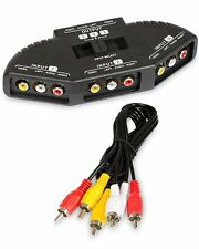 Black 3 Port AV Composite RCA Selector Box Switch Splitter w/ Cable Cord Plug