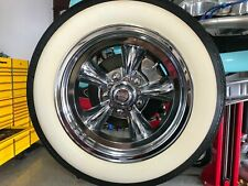 "AMERICAN RACING 15"" WHEEL 3"" WIDE 75MM WHITE WALL TIRE TRIM 4PCS HOT ROD RAT ROD"