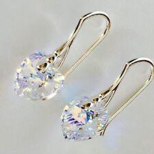 Swarovski Elements Heart Earring Crystal Jewellery Aurore Boreale AB 925 Silver
