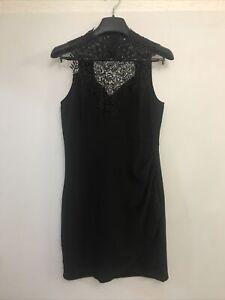 Dotti Black Straight Pencil Dress Lace Neckline Shoulder Size 10
