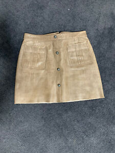 AJE Leather Skirt Shrimpton Mini in Brown Size 12