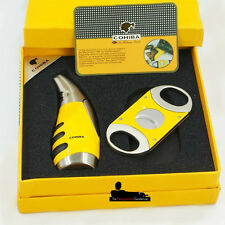COHIBA YELLOW 2 PIECE CIGAR GIFT SET - TORCH JET FLAME CIGAR LIGHTER AND CUTTER