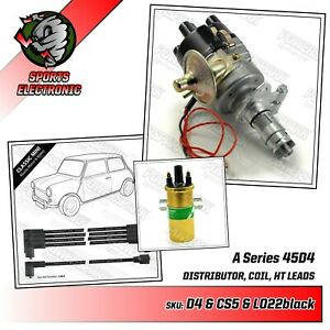Austin & MG A Series 45D4 Electronic Distributor Gold Sports Coil & 8mm HT Leads