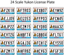 YUKON LICENSE PLATE DECALS FOR 1:24 SCALE CARS