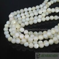 Natural White Mother Of Pearl MOP Shell Round Beads 4mm 6mm 8mm 10m 12mm 16""