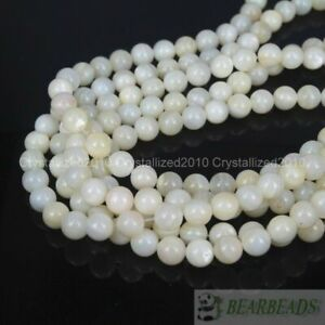 """Natural White Mother Of Pearl MOP Shell Round Beads 4mm 6mm 8mm 10m 12mm 16"""""""