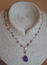 Collana perle di fiume rosa viola ovale sfaccetto ametista rosario Argento 925