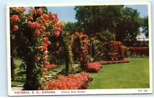 *1954 Empress Hotel Gardens Rose Arches Victoria BC Canada Vintage Postcard A31