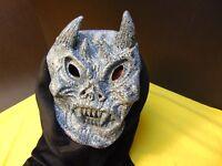 Halloween Devil Demon Mask w/ Horns Black White Grey Adult