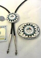 XL Ralph & Lillie Kallestewa Zuni Belt Buckle Bolo Set SUNFACE Sterling Silver