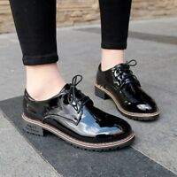 Womens Fashion PU Leather Oxfords Shoes Flat Heel Pumps Lace up Brouge Low Top